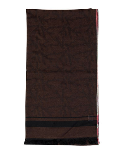 Men's Cashmere Striped-Trim Scarf