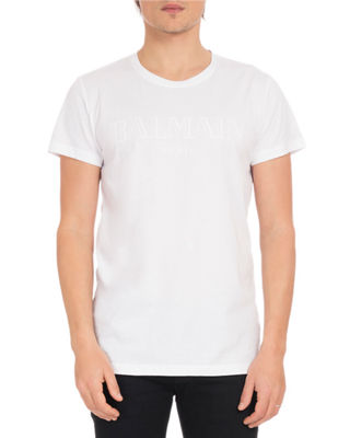 Balmain Men's Crewneck Cotton Logo Tee
