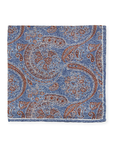 Men's Reversible Printed Silk Pocket Square