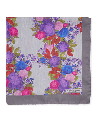 EDWARD ARMAH Watercolor Floral-Print Silk Pocket Square in Gray