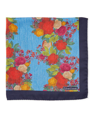 EDWARD ARMAH Watercolor Floral-Print Silk Pocket Square in Blue