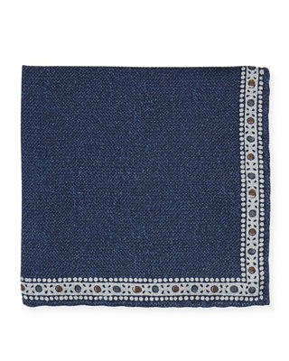 EDWARD ARMAH Men'S Solid Pocket Square W/ Printed Border in Blue