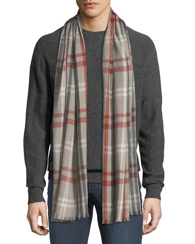 Loro Piana Men's Albion Large Plaid Cashmere Scarf