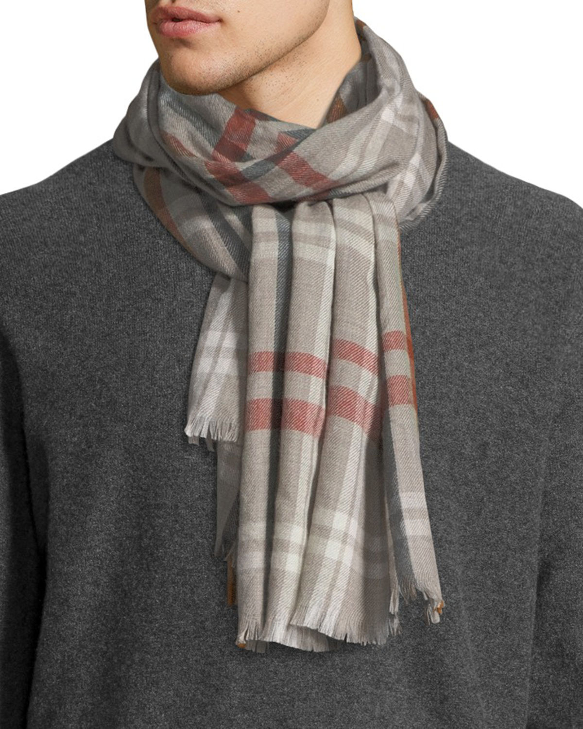 0df9969e51a Loro Piana Men s Albion Large Plaid Cashmere Scarf