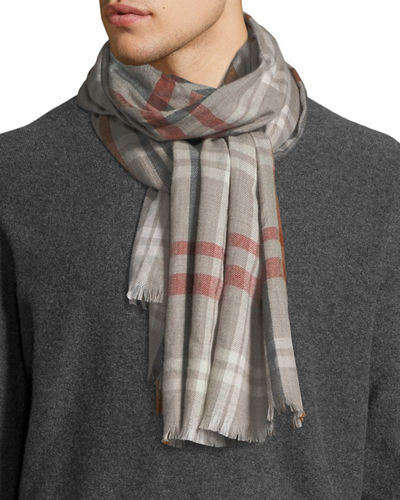 Men's Albion Large Plaid Cashmere Scarf