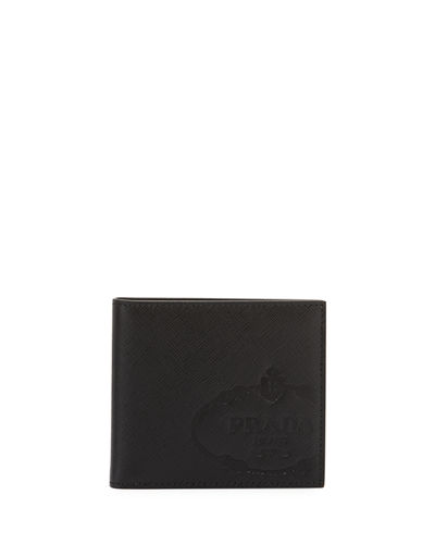 Men's Saffiano Leather Savoia Logo Bi-Fold Wallet