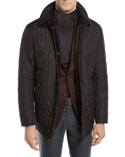 Men's Nylon Quilted Zip-Front Coat