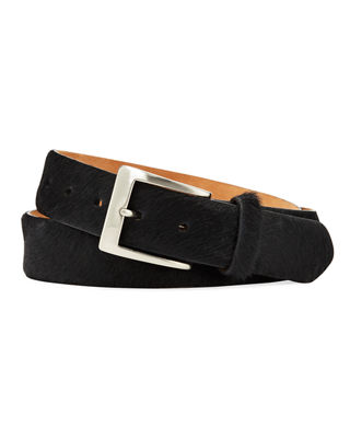 W. KLEINBERG Men'S Camo Cow Hair Belt in Black