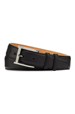 W. Kleinberg Pebbled Bison Leather Belt