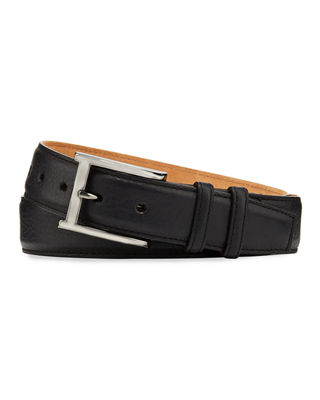 W. KLEINBERG Pebbled Bison Leather Belt in Black
