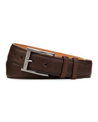 W. KLEINBERG Pebbled Bison Leather Belt in Chocolate