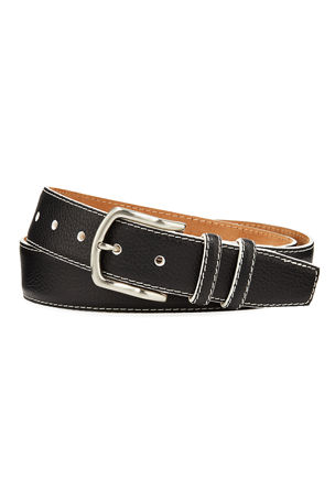 W. Kleinberg Men's South Beach Pebbled Leather Belt