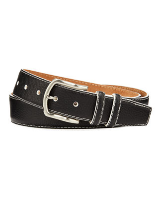 W. KLEINBERG Men'S South Beach Pebbled Leather Belt in Black