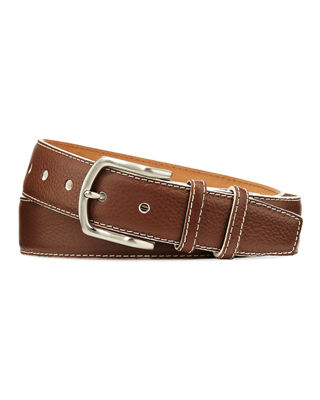 W. KLEINBERG Men'S South Beach Pebbled Leather Belt in Brown