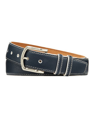 W. KLEINBERG Men'S South Beach Pebbled Leather Belt in Navy