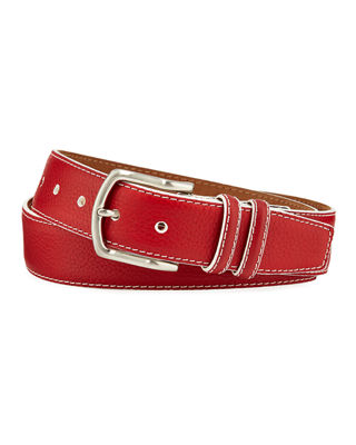 W. KLEINBERG Men'S South Beach Pebbled Leather Belt in Red