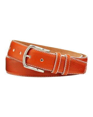 W. KLEINBERG Men'S South Beach Pebbled Leather Belt in Orange