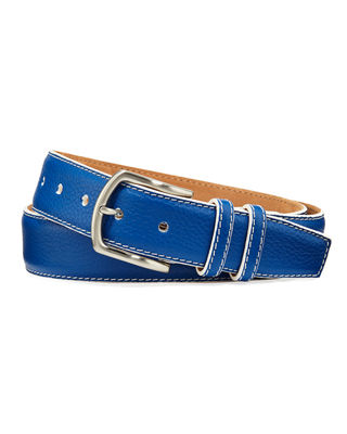 W. KLEINBERG Men'S South Beach Pebbled Leather Belt in Cobalt
