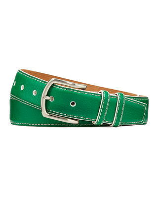 W. KLEINBERG Men'S South Beach Pebbled Leather Belt in Light Green