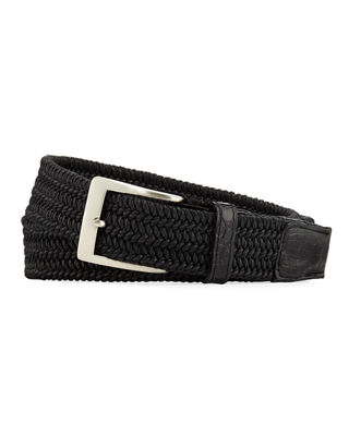 W. KLEINBERG Men'S Sport Stretch Belt With Crocodile-Trim in Black
