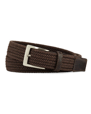 W. KLEINBERG Men'S Sport Stretch Belt With Crocodile-Trim in Brown