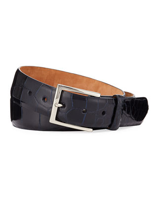 W. KLEINBERG Men'S American Alligator Belt in Navy
