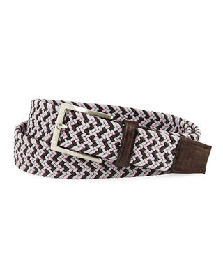 W. KLEINBERG Men'S Sport Stretch Belt With Crocodile-Trim in Pink