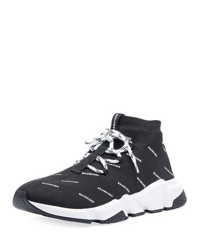 Men's Speed Lace-Up Logo Mesh Sneakers