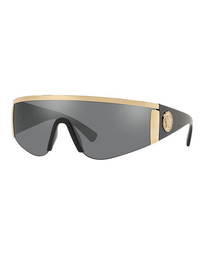 Men's Plastic Mirror Shield Sunglasses with Metallic Trim