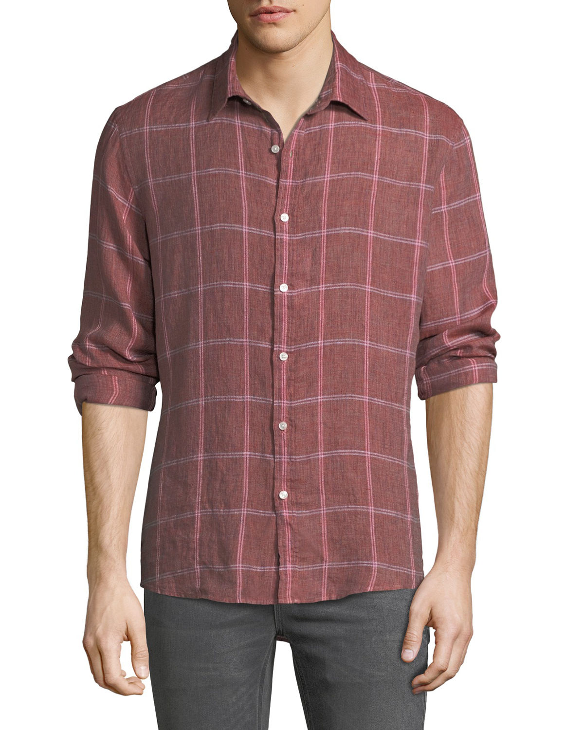 Men's Hartman Linen Plaid Button-Down Shirt
