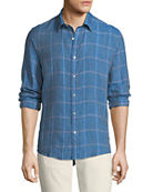 Michael Kors Men's Hartman Linen Plaid Button-Down Shirt