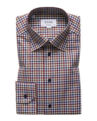 Multicolored Gingham Regular Fit Dress Shirt, Pink
