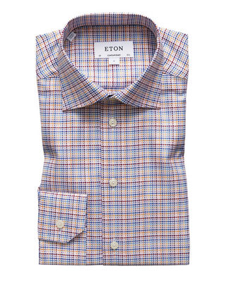 Eton Men's Contemporary Fit Textured Twill Dress Shirt