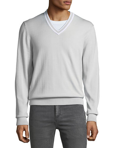Men's Cotton V-Neck Sweater w/ Tipping