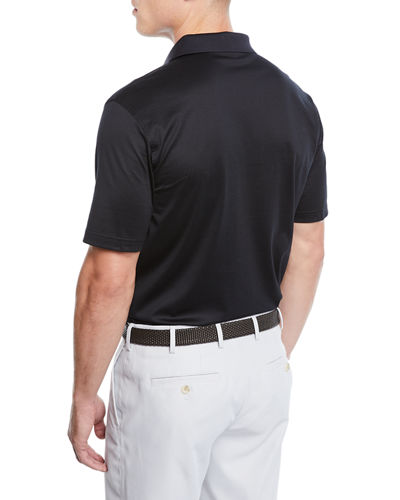 Crown Ease Solid Lisle-Knit Cotton Polo Shirt