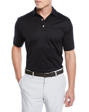 6fba9d884d2a Peter Millar Crown Ease Solid Lisle-Knit Cotton Polo Shirt