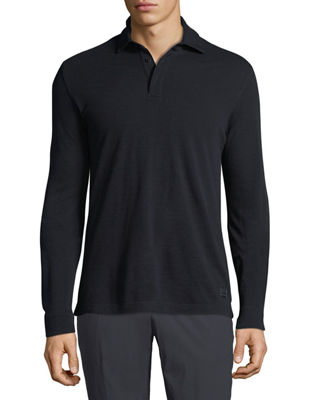 Z Zegna Long-Sleeve Wool Polo Shirt with Logo