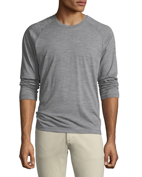 Z Zegna Men S Techmerino Jersey Long-Sleeve T-Shirt In Gray  bf12f4627