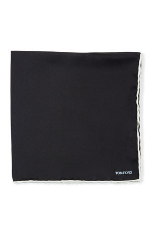 TOM FORD Men's Satin-Trim Pocket Square