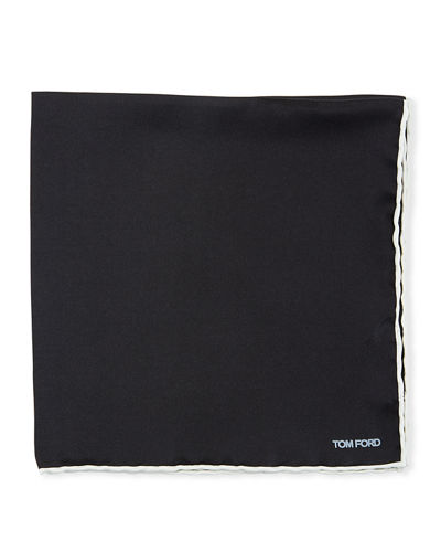 Men's Satin-Trim Pocket Square