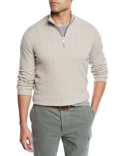 Men's Cabled Cashmere Quarter-Zip Sweater