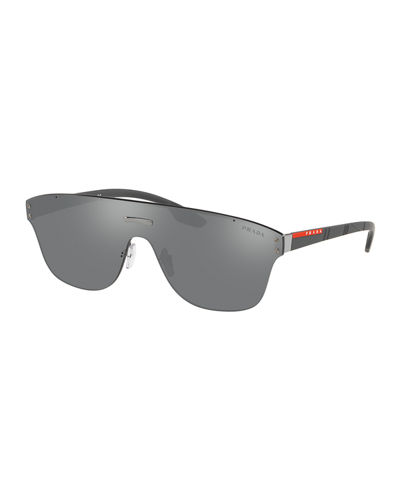 Men's PS57TS Rimless Shield Sunglasses