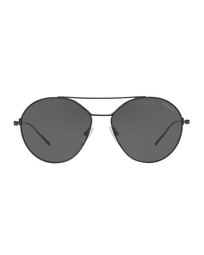 Men's PR63US Round Metal Aviator Sunglasses