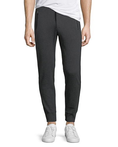 Leather-Trim French Terry Jogger Pants