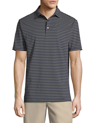 Halifax Striped Stretch Jersey Polo Shirt