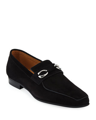 CORTHAY Men'S Cannes Suede Loafers With Bit Detail in Black