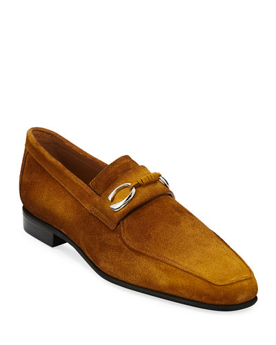 Corthay Mens Cannes Suede Loafers With Bit Detail by Corthay