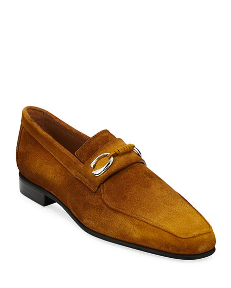 Image 1 of 3: Corthay Men's Cannes Suede Loafers with Bit Detail