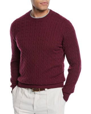 Brunello Cucinelli Mens Cashmere Cable Knit Crewneck Sweater In