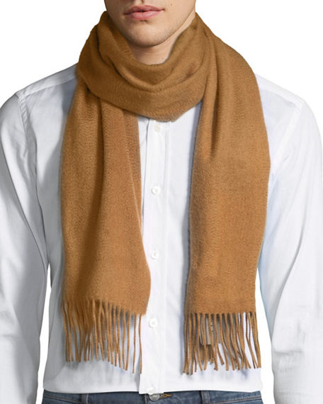 Image 1 of 4: Neiman Marcus Men's Cashmere Solid Fringe Scarf